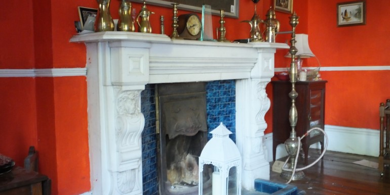 Carrera marble chimneypiece in dining room